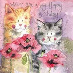 verjaardagskaart alex clark - wishing you a very happy birthday  - katten en papaver