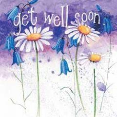 beterschapskaart  - alex clark - get well soon - bloemen