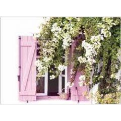 ansichtkaart - raam met bloemen