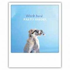 ansichtkaart instagram pickmotion - work hard party harder - hond