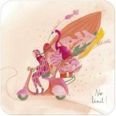 vierkante ansichtkaart met envelop - no limit - flamingo