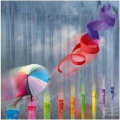 vierkante ansichtkaart met envelop - maïlo - paraplu