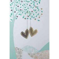 trouwkaart - twee harten aan boom