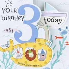 3 jaar - verjaardagskaart caroline gardner - it s you birthday today - onder water blauw