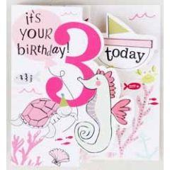 3 jaar - verjaardagskaart caroline gardner - it s you birthday today - onder water roze