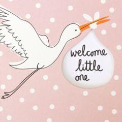geboortekaartje caroline gardner - welcome little one - ooievaar roze
