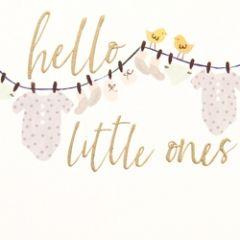 geboortekaartje caroline gardner - hello little ones - kleertjes aan waslijn - tweeling
