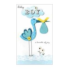 grote luxe geboortekaart - baby boy a bundle of joy - ooievaar
