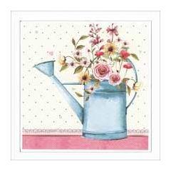 wenskaart la clef des songes - gieter met bloemen