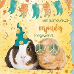 verjaardagskaart cuddles - een glamoureuze verjaardag toegewenst! - cavia