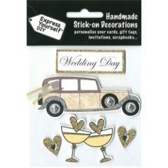 4 plak decoraties - huwelijk - auto