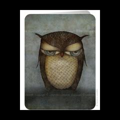 santoro eclectic cards - grumpy owl - uil
