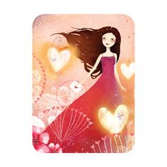 meisje in rode jurk - hartjes - Santoro's Eclectic Cards