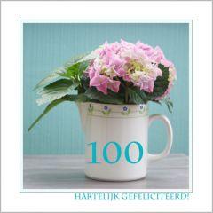 Hartelijk gefeliciteerd 100  (hortensia)