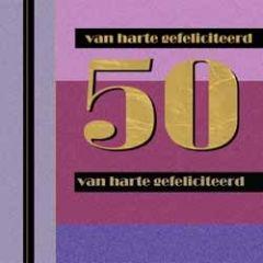 50 jaar - felicitatiekaart - van harte gefeliciteerd - roze paars