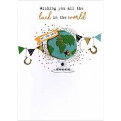 wenskaart afscheid - wishing you all the luck in the world all the best