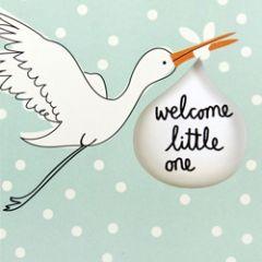 geboortekaartje caroline gardner - welcome little one - ooievaar blauw