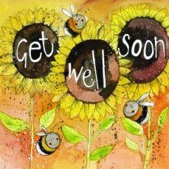 beterschapskaart alex clark - get well soon - zonnebloemen en bijtjes