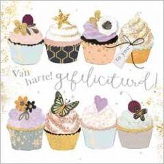 luxe felicitatiekaart gold leaf - van harte gefeliciteerd! - cupcakes