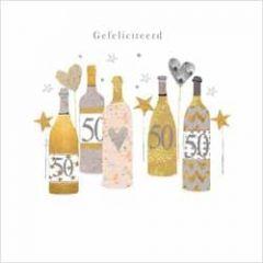 50 jaar - luxe felicitatiekaart gold leaf - gefeliciteerd - champagne wijn