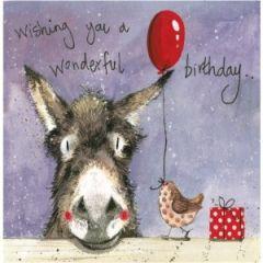 verjaardagskaart alex clark - wishing you a wonderful birthday - ezel en vogel