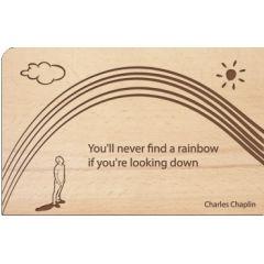 houten ansichtkaart - you ll never find a rainbow