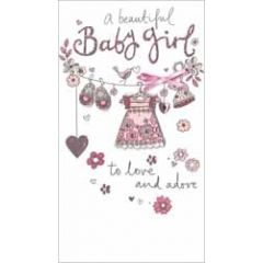 grote luxe geboortekaart - a beautiful baby girl to love and adore