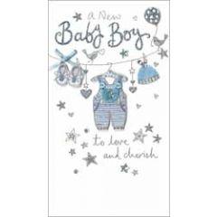 grote luxe geboortekaart - a new baby boy to love and cherish