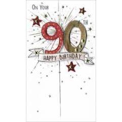 90 jaar - grote luxe verjaardagskaart - on your 90th happy birthday