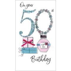 50 jaar - grote luxe verjaardagskaart - on your 50th birthday - parfum en cadeautjes - sarah