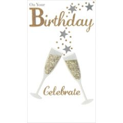 grote luxe verjaardagskaart - on your birthday celebrate - champagne