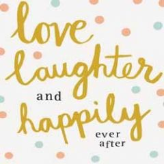 trouwkaart caroline gardner - love laughter and happily ever after