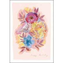 verjaardagskaart woodmansterne rosella - happy birthday - bloemen en vogel pimpelmeesje