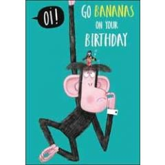 verjaardagskaart woodmansterne - go bananas on your birthday - aap
