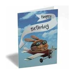 verjaardagskaart - happy birthday - konijn in vliegtuig