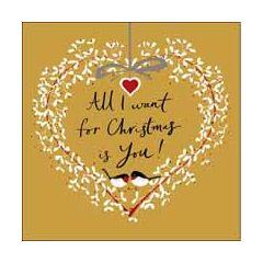 luxe kerstkaart woodmansterne - all I want for christmas is you! - hart kerstkrans