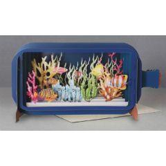 3D pop up kaart - message in a bottle - aquarium vissen