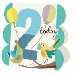 2 jaar - wenskaart caroline gardner - 2 today - vogels blauw