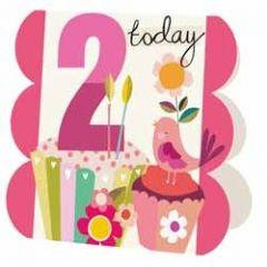 2 jaar - wenskaart caroline gardner - 2 today - vogels roze