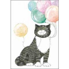 wenskaart woodmansterne - kat mog - ballonnen