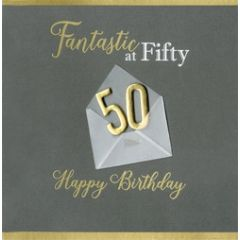 50 jaar - luxe verjaardagskaart - fantastic at fifty happy birthday