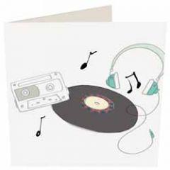 wenskaart caroline gardner - cassettebandje koptelefoon lp