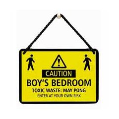 hang-ups! - tinnen bordje - caution boy's bedroom toxic waste