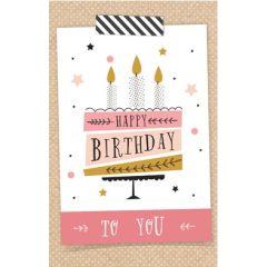 verjaardagskaart met cadeau envelop - happy birthday to you - taart