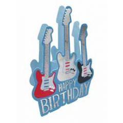 3d verjaardagskaart paper dazzle - happy birthday - gitaar