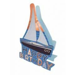 3d verjaardagskaart paper dazzle - happy birthday - zeilboot