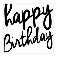 verjaardagskaart  piano handwriting - happy birthday