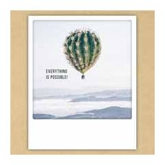 ansichtkaart instagram pickmotion - everything is possible - cactus als luchtballon
