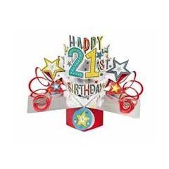 21 jaar - 3D kaart - pop ups - happy 21st birthday