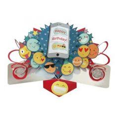 3D verjaardagskaart - pop ups - happy birthday - emoticons